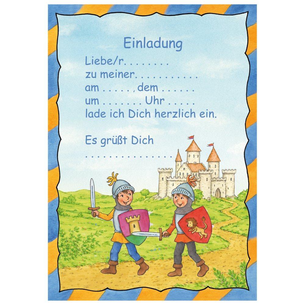 Kindergeburtstag Ritter   Atlanticalano, Einladung. Einladungskarten Set A5  Ritterburg, Einladung